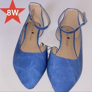 Blue flats ankle strap size 8W NWT